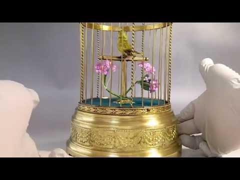 Rare Antique French Bontems Automaton Singing Bird Cage Music Box
