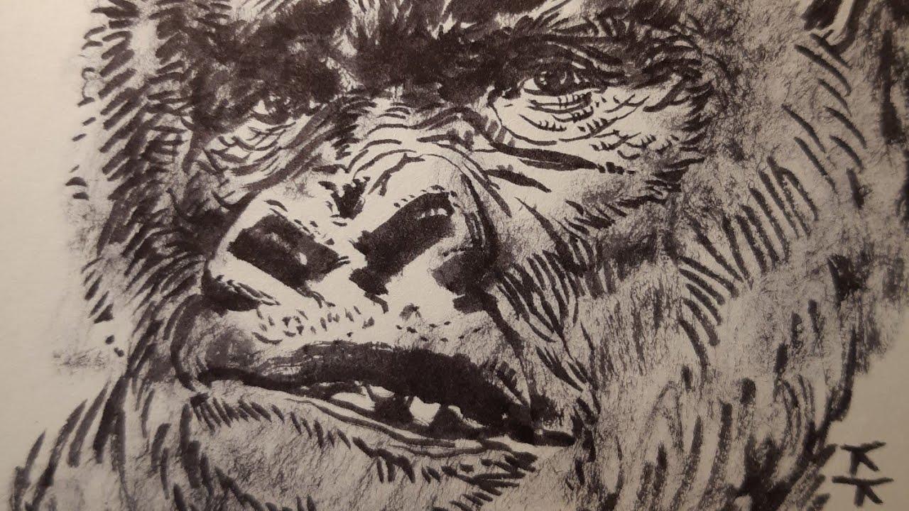Easy drawing of animal illustrations(gorillra)2動物イラストの簡単な描画(ゴリラ)2