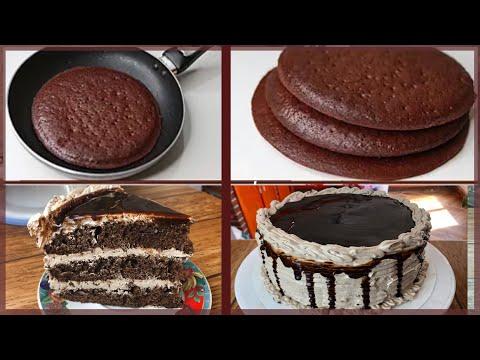 Pastel de chocolate en sartén muy fácil y delicioso