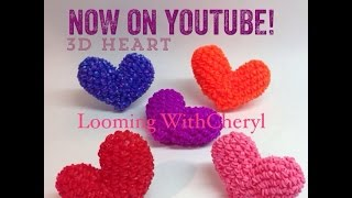Rainbow Loom HEART - Loomigurumi 3d- Looming WithCheryl