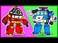 Мультик. Раскраска. Робокары. Учим цвета. Cartoon Robocar. 로보카 폴리