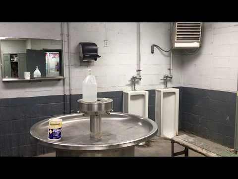 Bathroom/Locker room tour: Vintage Standard urinals and interesting sinks with modern Toilets