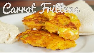 Spiced Carrot Fritters With Hummus & Flatbread - Crumbs