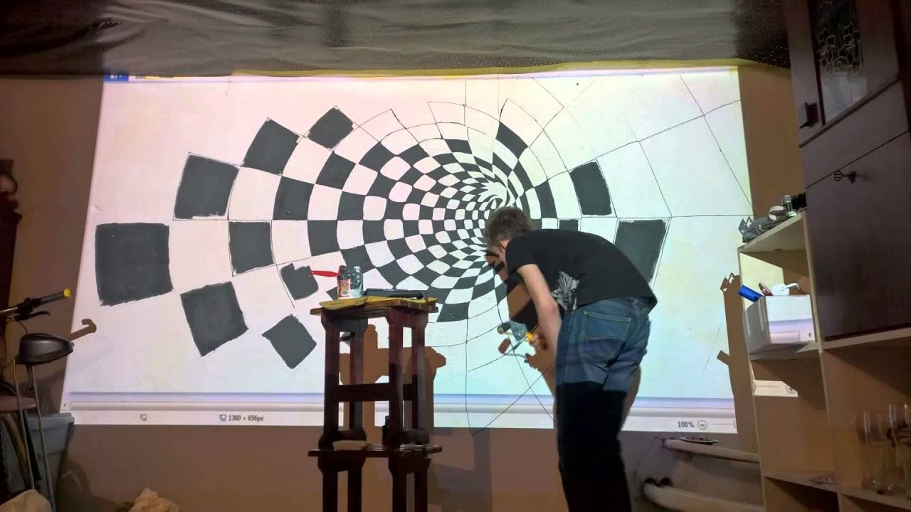 Charming How To Draw Illusion On Wall With Epson Projector. Timelapse Part 7