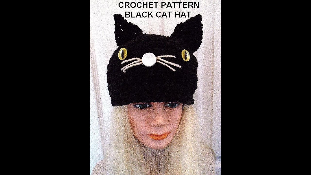 Crochet Pattern Black Cat Hat Halloween Hat All Sizes Newborn To
