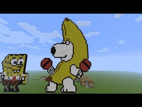 minecraft brian griffin banana pixel art build youtube. Black Bedroom Furniture Sets. Home Design Ideas