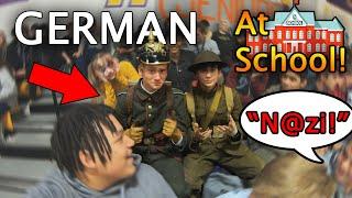 We wore WW1 GERMAN uniforms to school...
