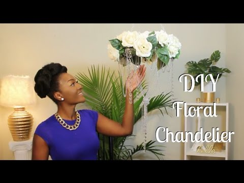 DIY Dollar Tree: Glamorous Hanging Floral Chandelier || Chanelle Novosey