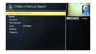 Create a Onepass and Wishlist  - TiVo Service from Cogeco