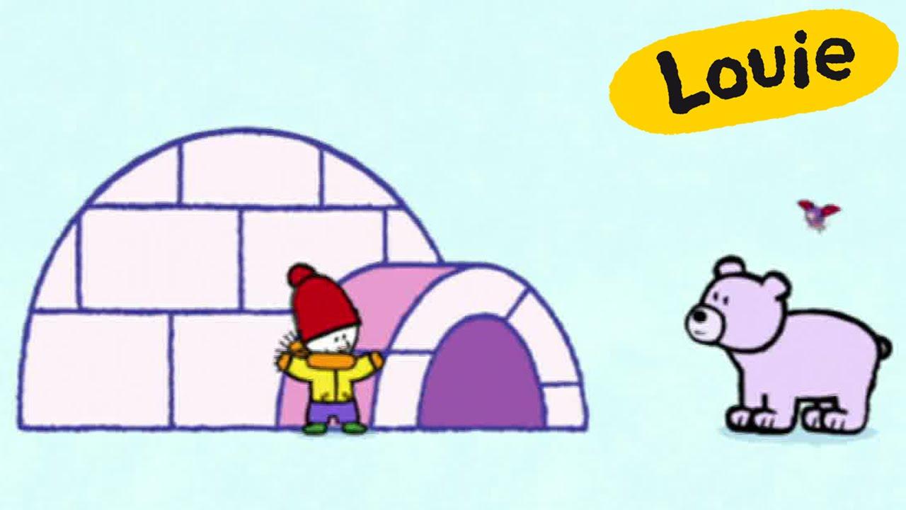 Iglu - Louie dibujame un iglu | Dibujos animados para niños - YouTube