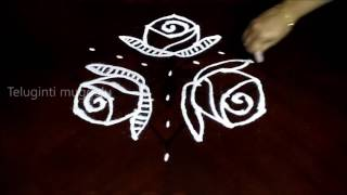 Video Easy rose flowers kolam designs with 7-4 middle | chukkala muggulu with dots| rangoli design download MP3, 3GP, MP4, WEBM, AVI, FLV April 2018