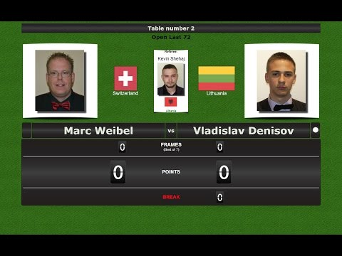 Snooker Open Last 128 : Marc Weibel vs Vladislav Denisov