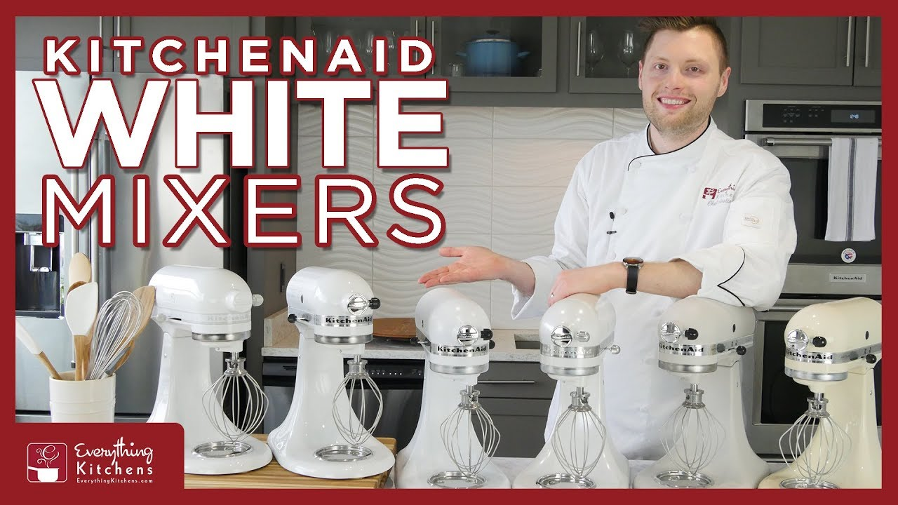 White Kitchen Aid Window Treatments For Kitchens Kitchenaid Mixers Color Comparison Almond Cream Frosted Pearl Milkshake Mixer