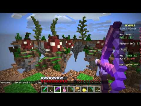 Fly , kill aura and anti knock back hacker in hypixel solo insane skywars