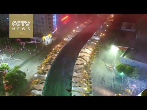68 excavators work in sync to raze overpass in SE China