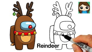 How to Draw AMONG US Reindeer Rudolph | Christmas #7