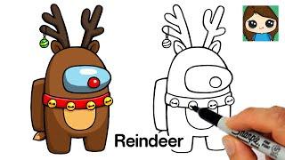How to Draw AMONG US Reindeer Rudolph | Christmas #7