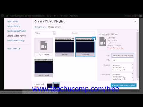 WordPress 4.0 Training Tutorial Inserting a Video Playlist into a Page or Post