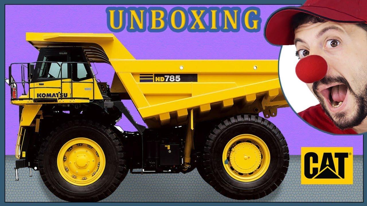 Clown Bob unpacks Construction vehicles RC Dump Truck Excavator