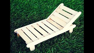 How to Make a Popsicle Stick BEACH CHAIR | Crafts with Popsicle Sticks | 5 MINUTE CRAFTS VIDEOS