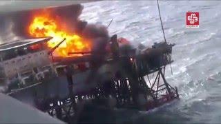 بالفيديو: قتيل و30 مفقوداً باندلاع حريق في منصة نفطية باذربجيان