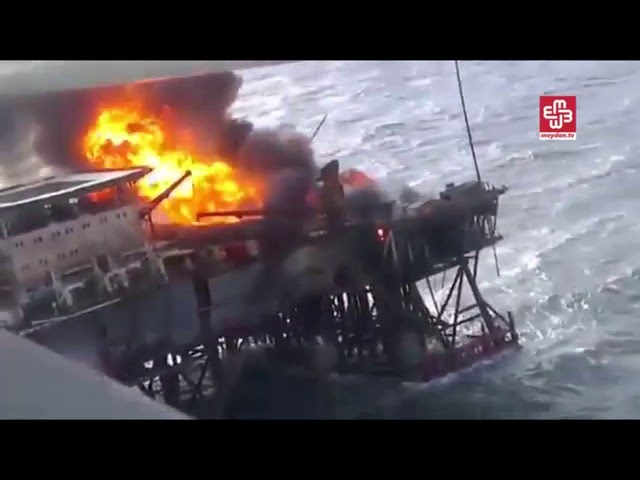 Mueren 32 operarios en un incendio en una plataforma del mar Caspio