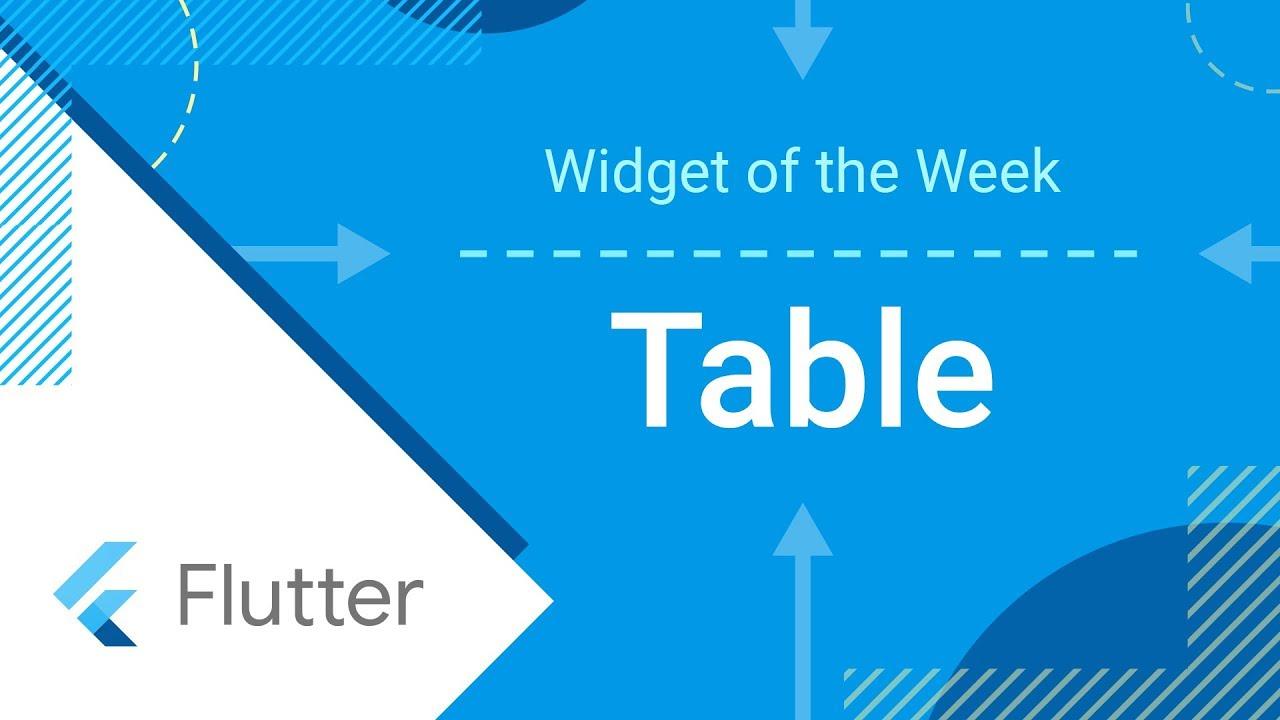 Table (Flutter Widget of the Week)