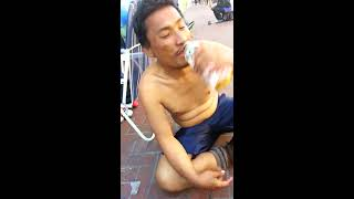 San Francisco crack addict in front of shoe store at 7:30am