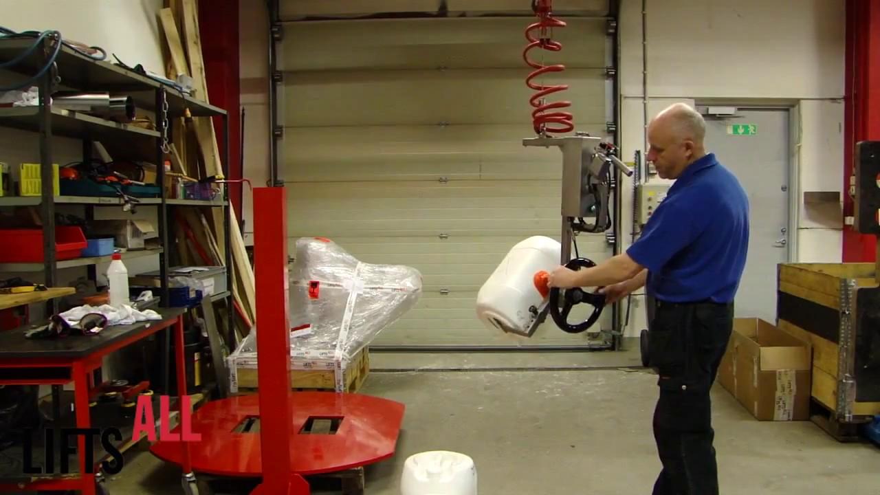 Manipulador neumático para elevar y vaciar bidones