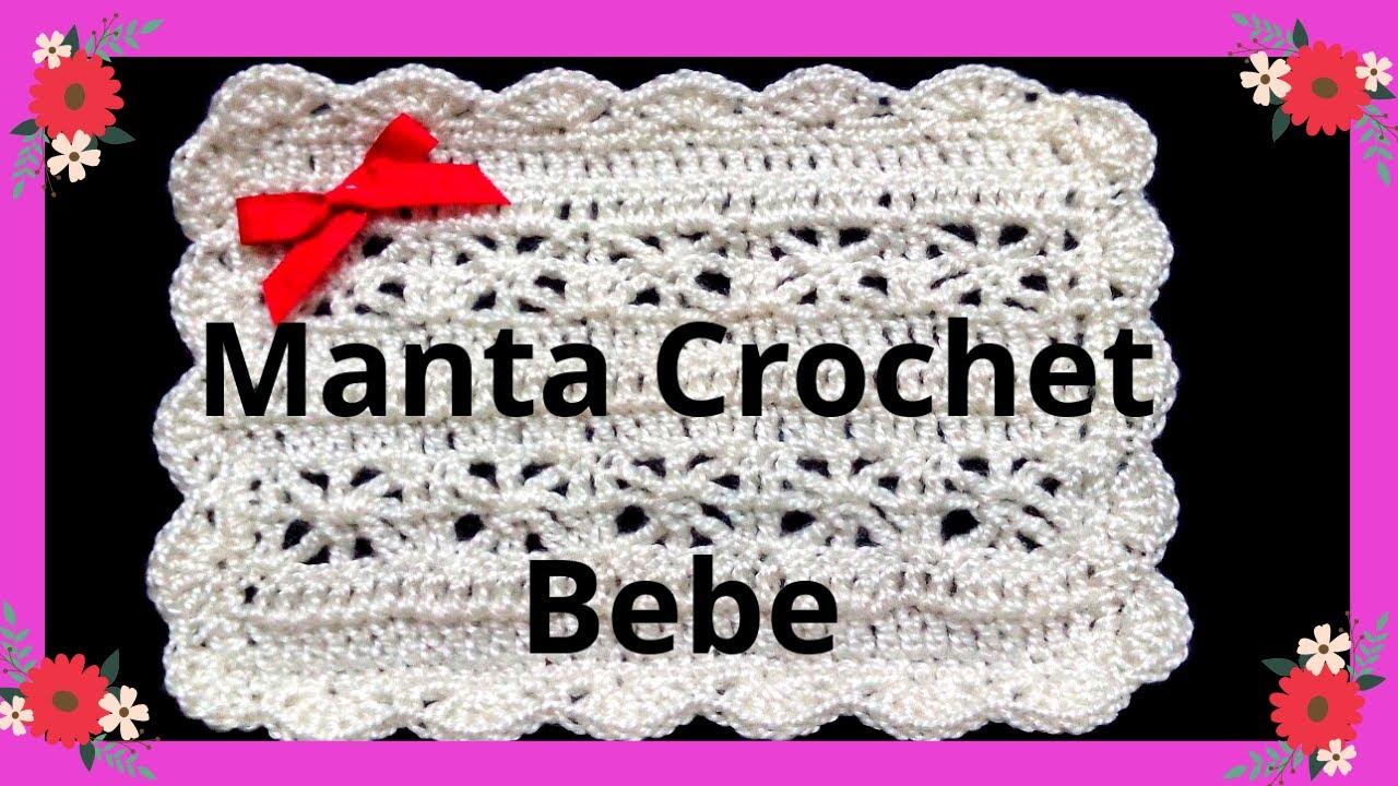 Como hacer una MANTITA o Cobija para bebe en tejido #crochet o ...
