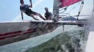 Life starts at 5 Beaufort  Dart 18 catamaran