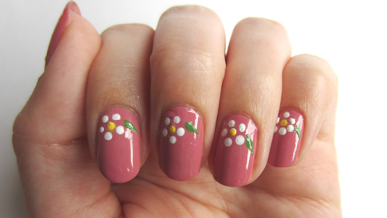 Blumen-Nageldesign in zartrosa | \'seni Nageldesign - YouTube