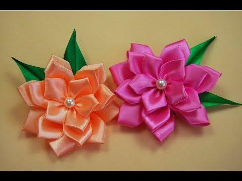 Цветы канзаши из атласных лент мастер класс