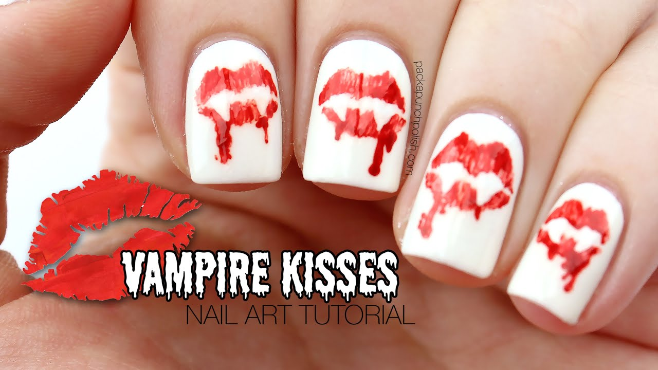 vampire kisses halloween nail art tutorial