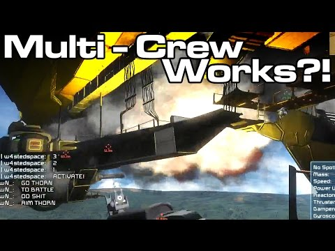 Space Engineers - Multi Crew Ships Work?! - Guns of Newton First Test