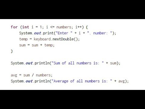 Sum and Average of numbers - Java - Eclipse - Coding