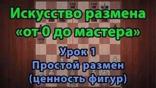 Шахматы. Искусство размена от 0 до мастера. Урок 1. Простой размен (ценность фигур)