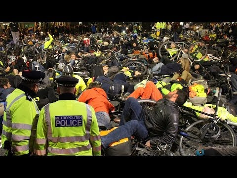 London cycling die-in protest against carnage on the roads 29th November 2013