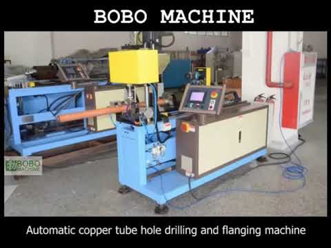 Automatic copper tube hole drilling and flanging machine