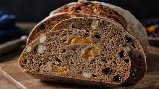 Десертный ржаной хлеб на закваске Хлеб с сухофруктами и орехами Земгальский хлеб Хлеб без дрожжей