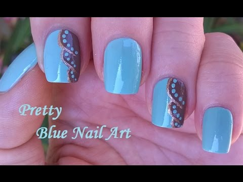 Light Blue Nail Art In Brown Gold Diy Elegant Dot Nails Design