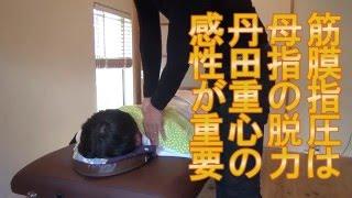 肩甲骨間のマッサージ【華侘夾脊穴】(棘筋、半棘筋、多裂筋、回旋筋)の筋膜指圧イメージ
