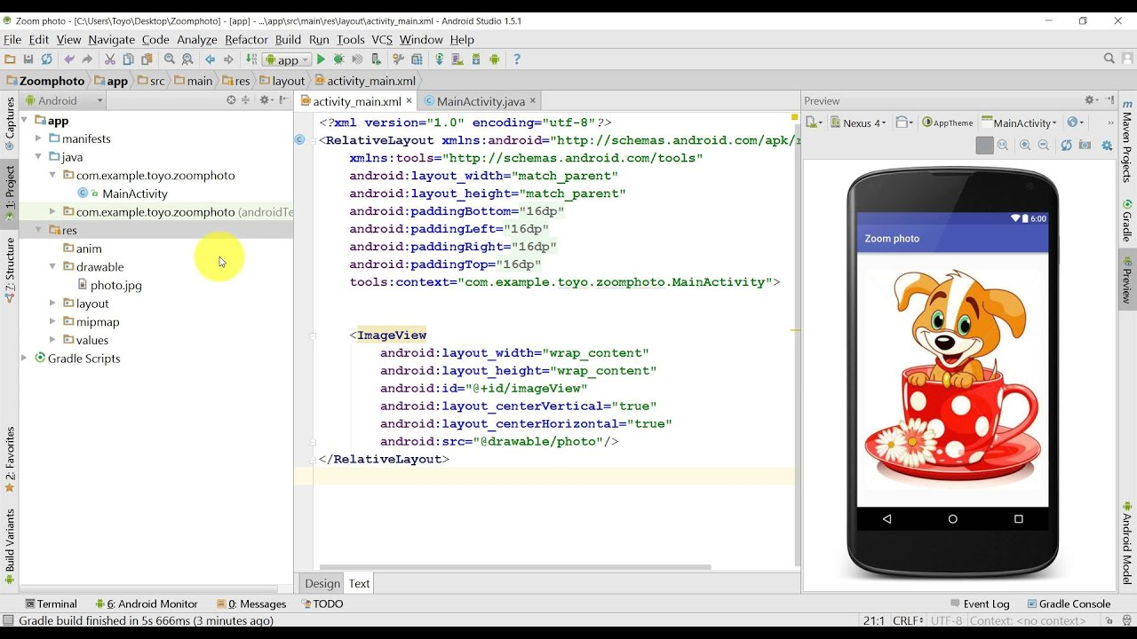 Tutorial how to zoom photo on ImageView in Android Studio