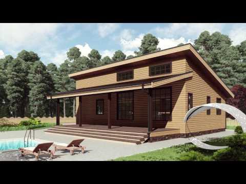 Проект каркасного одноэтажного дома 12,6*8,1 с односкатной крышей от Строй и Живи