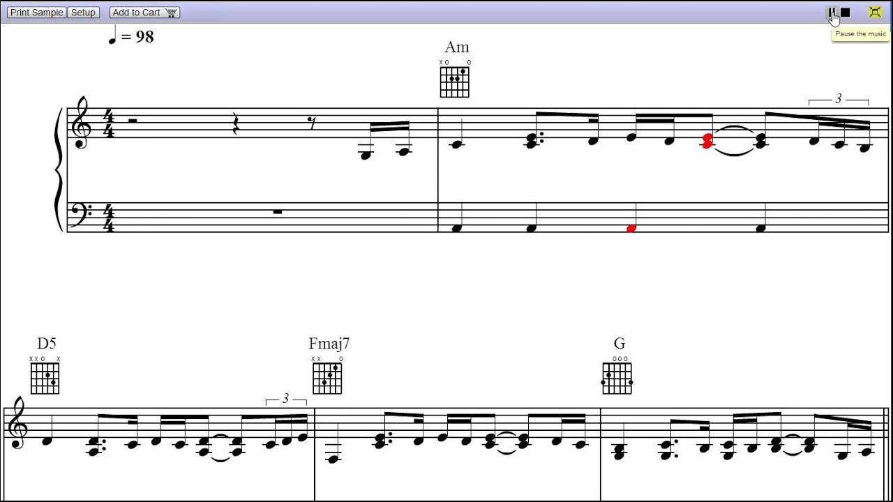 One By U2 Piano Sheet Musicteaser