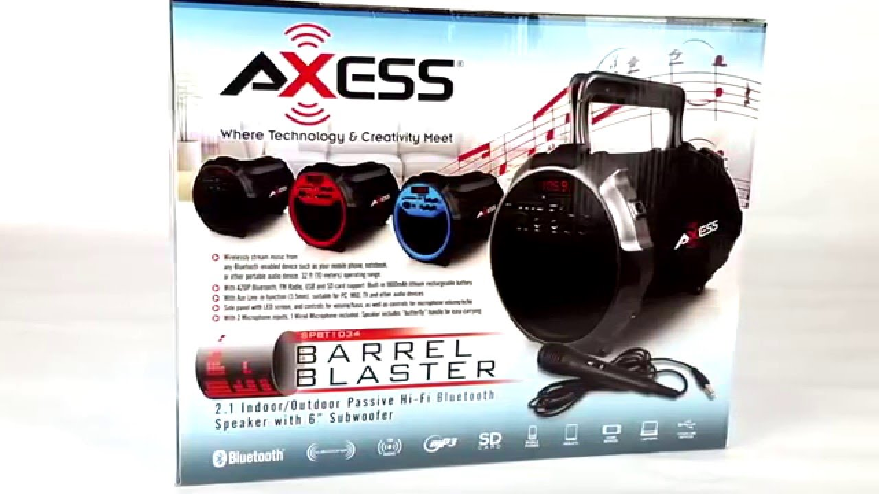 hight resolution of axess spbt 1034 portable rechargeable 2 1 bluetooth tailgate speaker usb sd fm and pa karaoke youtube