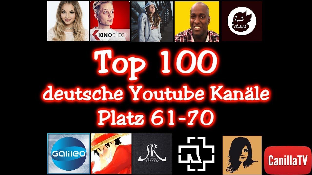 Top 100 deutsche Youtube Kanäle (Teil 7) Platz 61-70 - CanillaTV