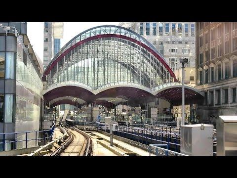 London. Riding the DLR train from Bank to Lewisham via Canary Wharf