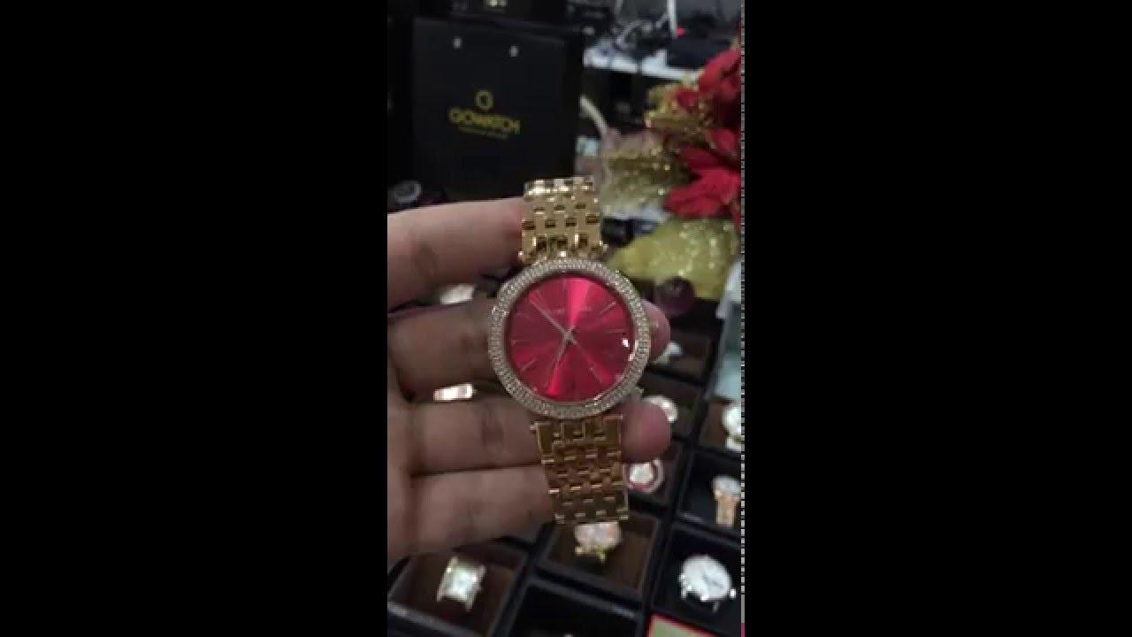 d9c5c94e47ba MICHAEL KORS Darci Red Swarovski Dial Rose Gold-tone Ladies Watch Item No.  MK3378 - YouTube