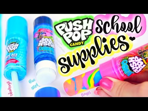 Thumbnail: DIY Push Pop School Supplies - Eraser, Pencil Sharpener, & Glue Stick How To for Back-To-School